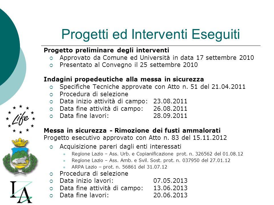 Progetti ed Interventi Eseguiti Progetto preliminare degli interventi Approvato da Comune ed Università in data 17 settembre 2010 Presentato al Conveg