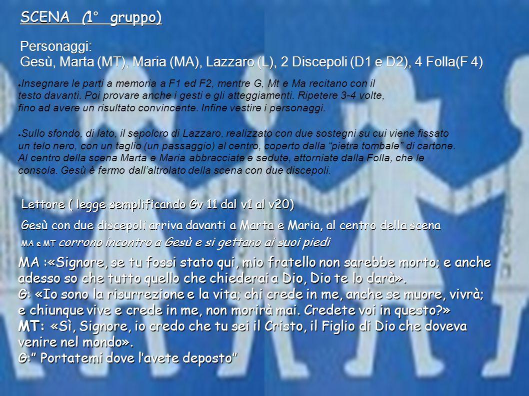 Personaggi: Gesù, Marta (MT), Maria (MA), Lazzaro (L), 2 Discepoli (D1 e D2), 4 Folla(F 4) Insegnare le parti a memoria a F1 ed F2, mentre G, Mt e Ma