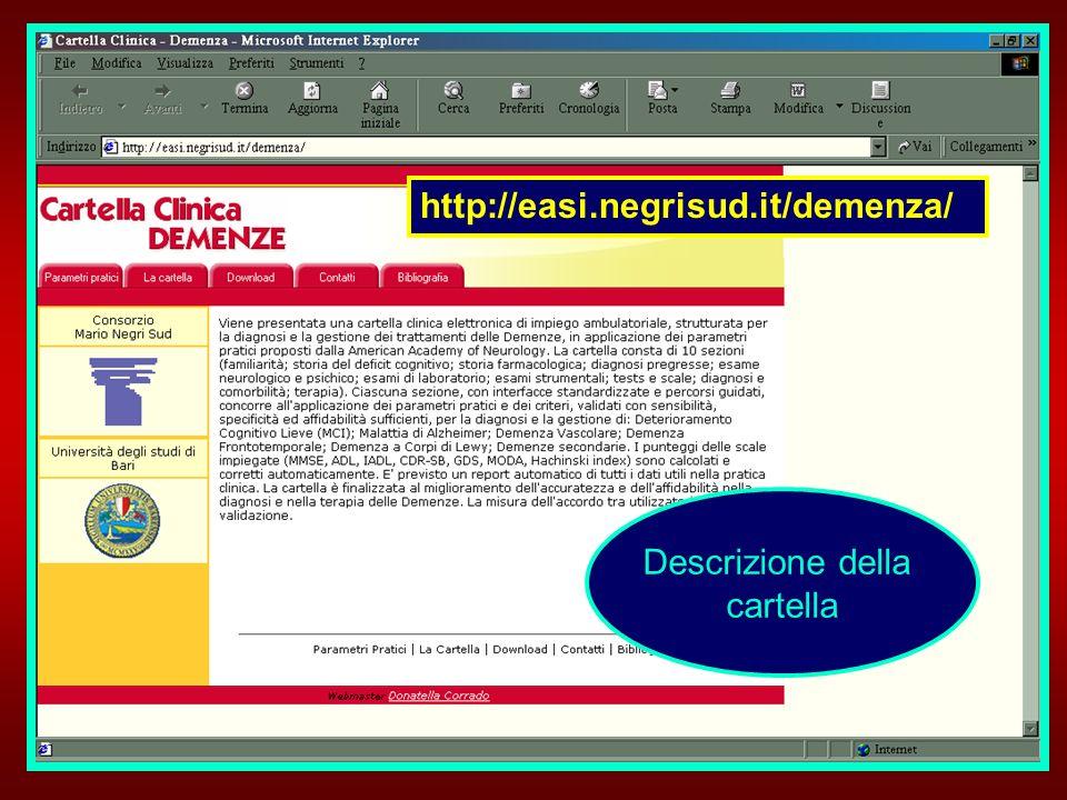 Descrizione della cartella http://easi.negrisud.it/demenza/