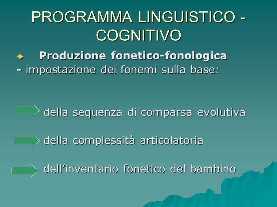 PROGRAMMA LINGUISTICO - COGNITIVO Comprensione-produzione lessicale Comprensione-produzione lessicale Denotazione Connotazione Denotazione Connotazione - classificazione per azione >introduce il compl.