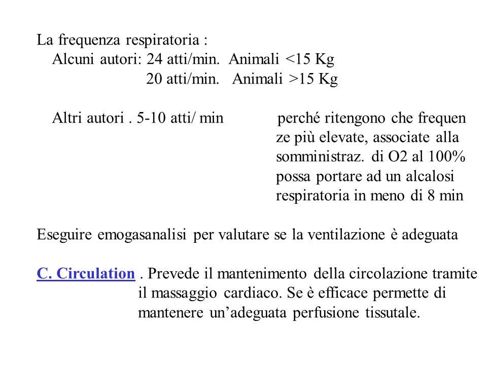 La frequenza respiratoria : Alcuni autori: 24 atti/min. Animali <15 Kg 20 atti/min. Animali >15 Kg Altri autori. 5-10 atti/ min perché ritengono che f
