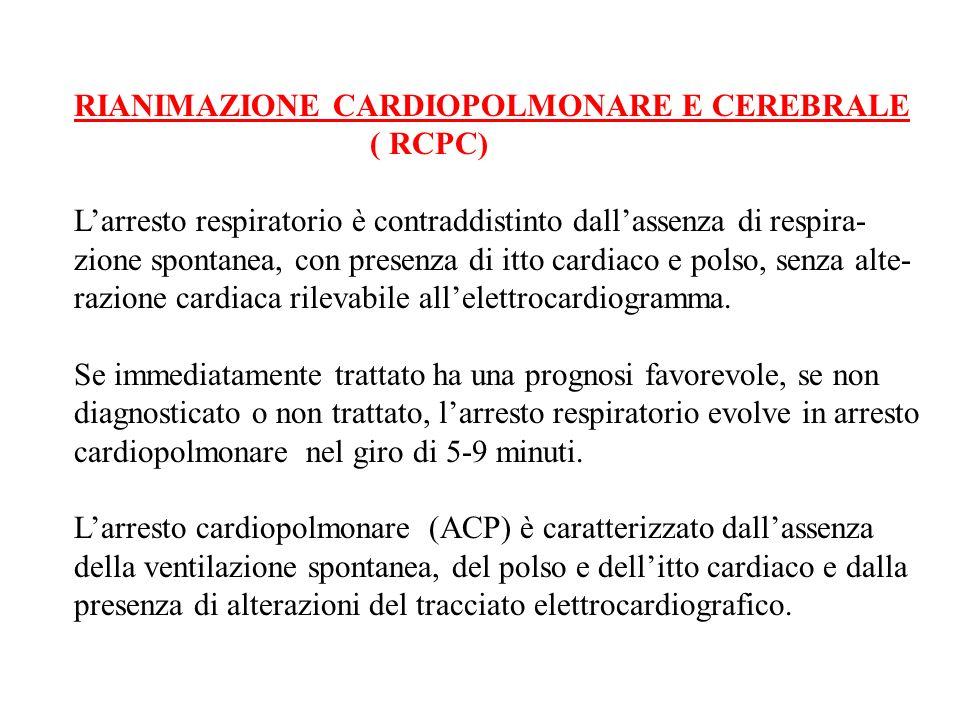RIANIMAZIONE CARDIOPOLMONARE E CEREBRALE ( RCPC) Larresto respiratorio è contraddistinto dallassenza di respira- zione spontanea, con presenza di itto