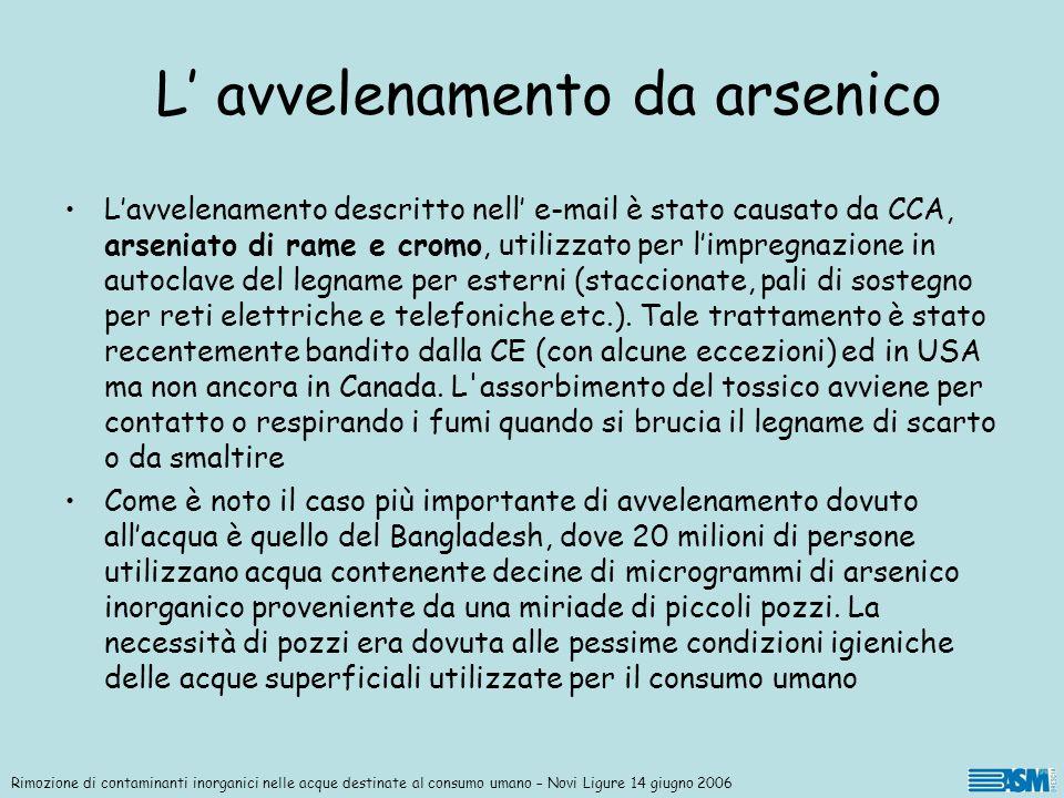 Rimozione di contaminanti inorganici nelle acque destinate al consumo umano – Novi Ligure 14 giugno 2006 Trattamenti per la rimozione dell arsenico Il metodo più largamente studiato ed applicato è il trattamento con cloruro ferrico.