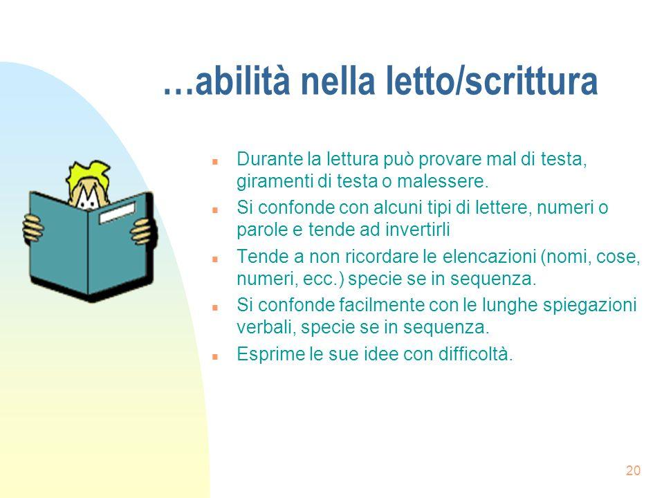 20 …abilità nella letto/scrittura n Durante la lettura può provare mal di testa, giramenti di testa o malessere.