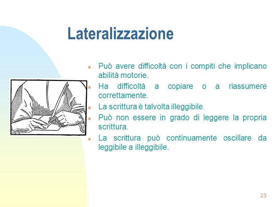 23 Lateralizzazione n Può avere difficoltà con i compiti che implicano abilità motorie.
