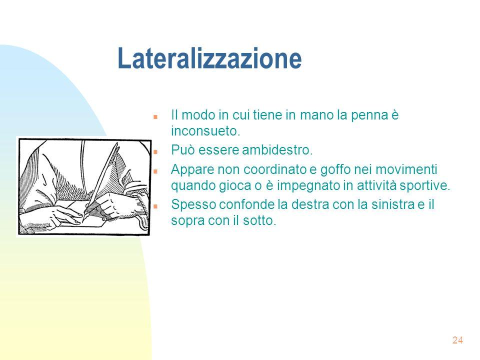 24 Lateralizzazione n Il modo in cui tiene in mano la penna è inconsueto.