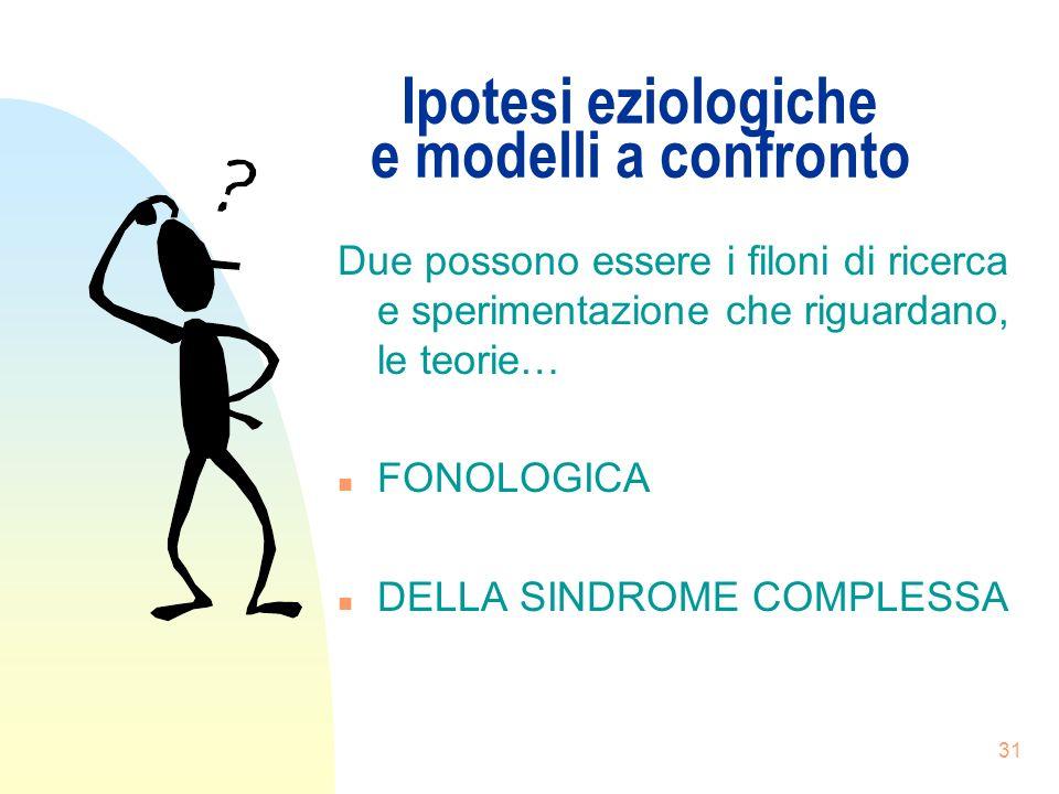 31 Ipotesi eziologiche e modelli a confronto Due possono essere i filoni di ricerca e sperimentazione che riguardano, le teorie… n FONOLOGICA n DELLA SINDROME COMPLESSA