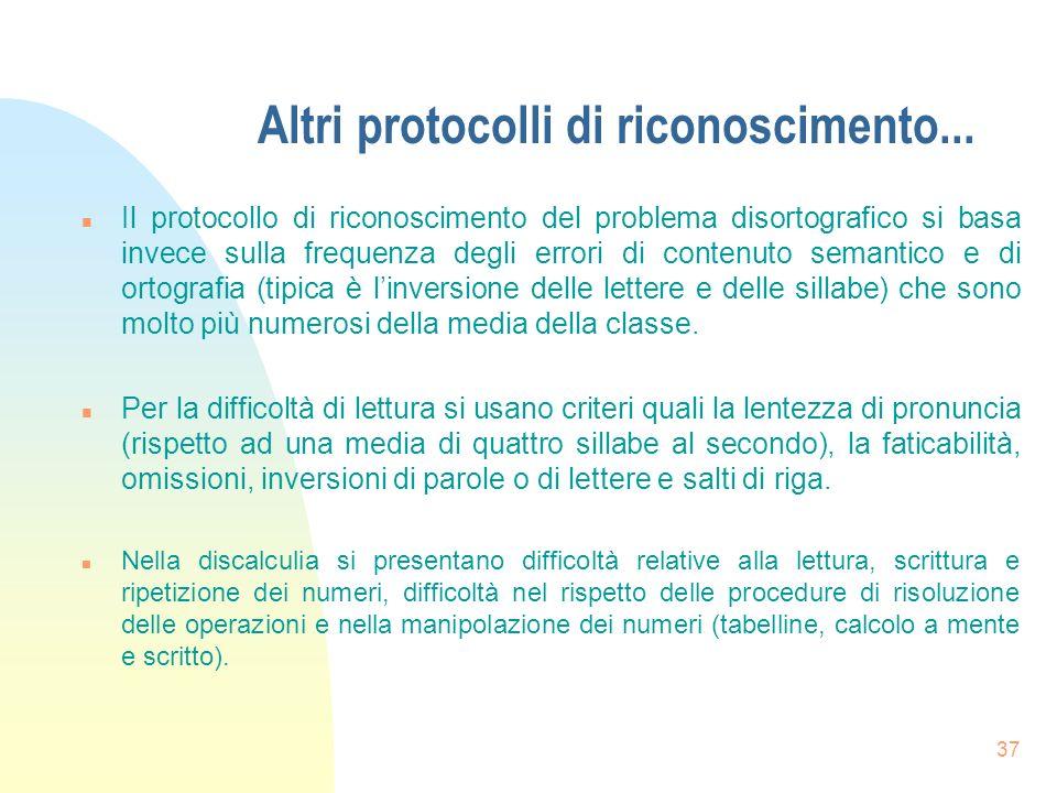 37 Altri protocolli di riconoscimento...