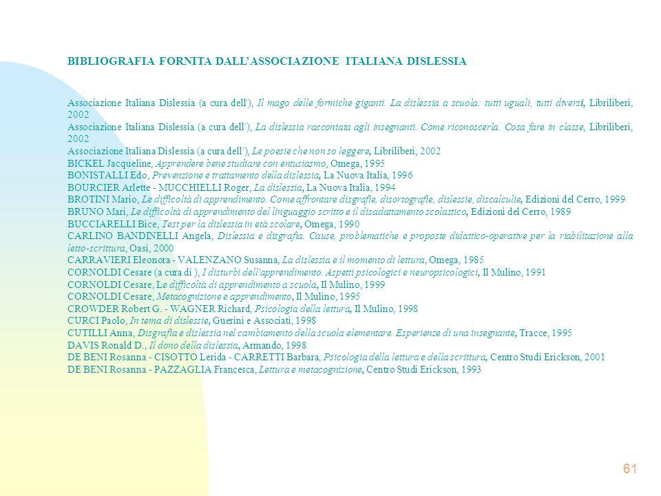 61 BIBLIOGRAFIA FORNITA DALLASSOCIAZIONE ITALIANA DISLESSIA Associazione Italiana Dislessia (a cura dell ), Il mago delle formiche giganti.