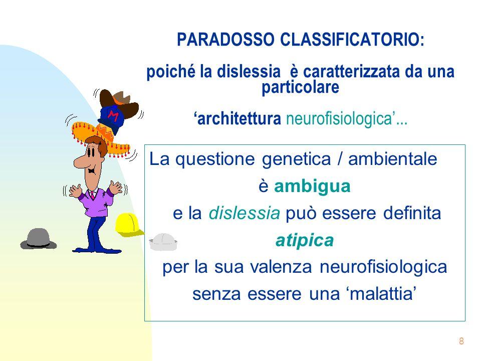 8 PARADOSSO CLASSIFICATORIO: poiché la dislessia è caratterizzata da una particolare architettura neurofisiologica...