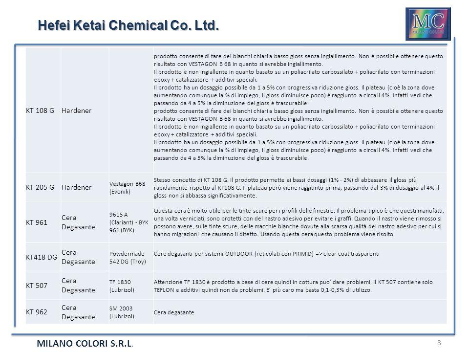 MILANO COLORI S.R.L. 8 Hefei Ketai Chemical Co. Ltd. KT 108 GHardener prodotto consente di fare dei bianchi chiari a basso gloss senza ingiallimento.