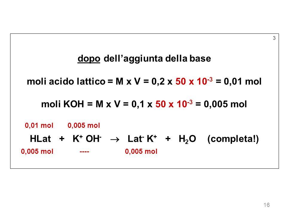16 3 dopo dellaggiunta della base moli acido lattico = M x V = 0,2 x 50 x 10 -3 = 0,01 mol moli KOH = M x V = 0,1 x 50 x 10 -3 = 0,005 mol 0,01 mol 0,