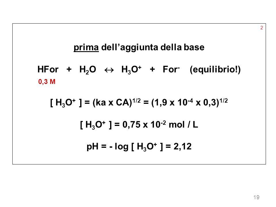 19 2 prima dellaggiunta della base HFor + H 2 O H 3 O + + For - (equilibrio!) 0,3 M [ H 3 O + ] = (ka x CA) 1/2 = (1,9 x 10 -4 x 0,3) 1/2 [ H 3 O + ]