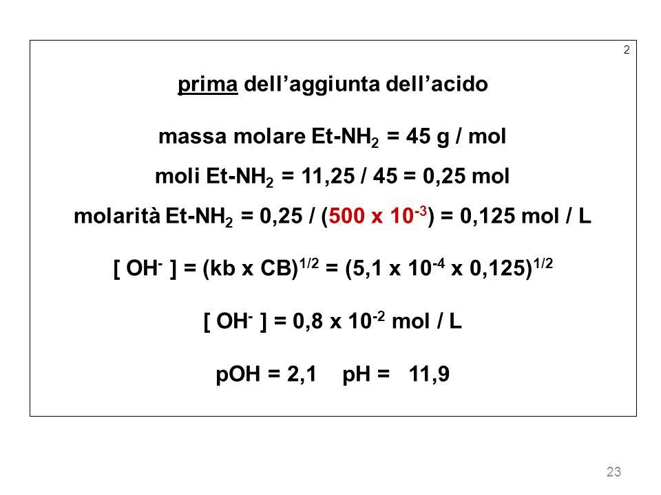 23 2 prima dellaggiunta dellacido massa molare Et-NH 2 = 45 g / mol moli Et-NH 2 = 11,25 / 45 = 0,25 mol molarità Et-NH 2 = 0,25 / (500 x 10 -3 ) = 0,