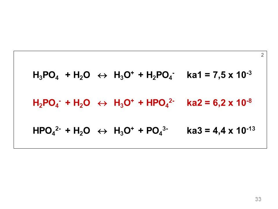 33 2 H 3 PO 4 +H 2 O H 3 O + +H 2 PO 4 - ka1 = 7,5 x 10 -3 H 2 PO 4 - +H 2 O H 3 O + +HPO 4 2- ka2 = 6,2 x 10 -8 HPO 4 2- +H 2 O H 3 O + +PO 4 3- ka3