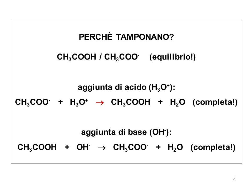 4 PERCHÈ TAMPONANO? CH 3 COOH / CH 3 COO - (equilibrio!) aggiunta di acido (H 3 O + ): CH 3 COO - + H 3 O + CH 3 COOH + H 2 O (completa!) aggiunta di