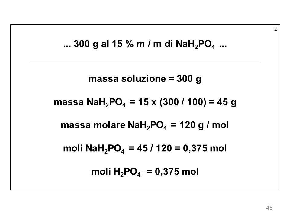 45 2... 300 g al 15 % m / m di NaH 2 PO 4... massa soluzione = 300 g massa NaH 2 PO 4 = 15 x (300 / 100) = 45 g massa molare NaH 2 PO 4 = 120 g / mol