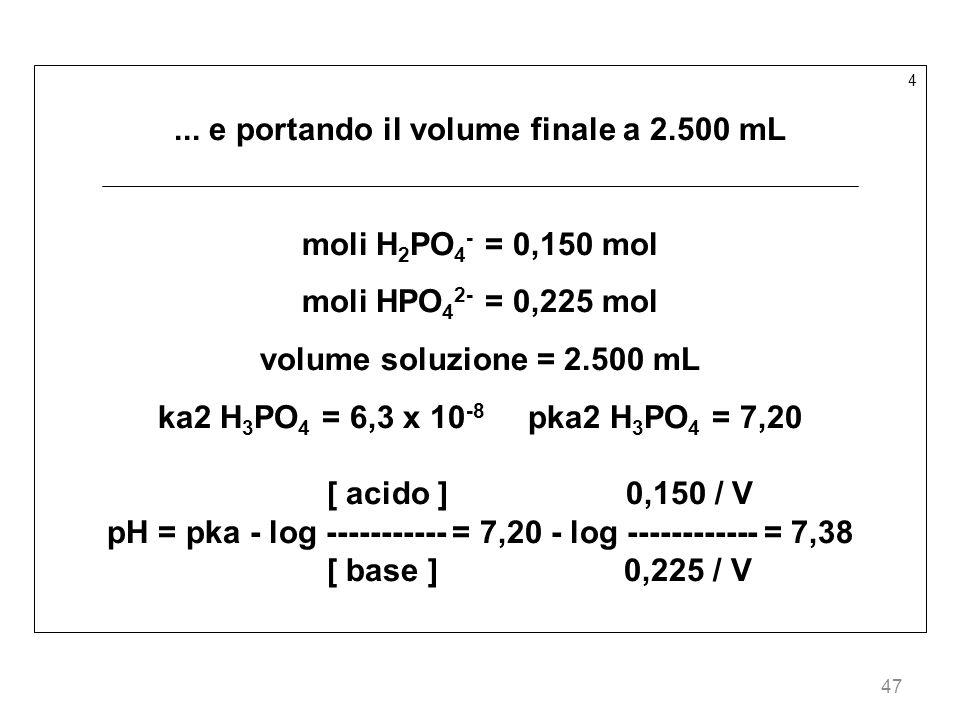 47 4... e portando il volume finale a 2.500 mL moli H 2 PO 4 - = 0,150 mol moli HPO 4 2- = 0,225 mol volume soluzione = 2.500 mL ka2 H 3 PO 4 = 6,3 x