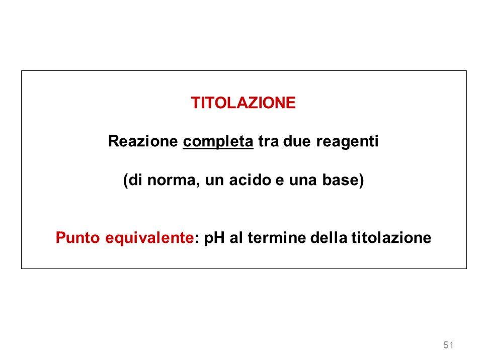 51 TITOLAZIONE Reazione completa tra due reagenti (di norma, un acido e una base) Punto equivalente: pH al termine della titolazione