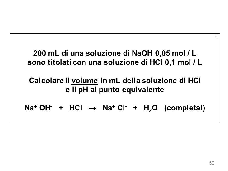 52 1 200 mL di una soluzione di NaOH 0,05 mol / L sono titolati con una soluzione di HCl 0,1 mol / L Calcolare il volume in mL della soluzione di HCl