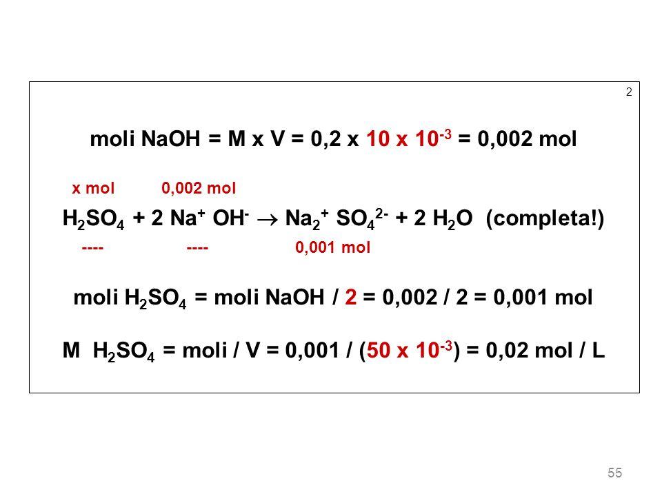 55 2 moli NaOH = M x V = 0,2 x 10 x 10 -3 = 0,002 mol x mol 0,002 mol H 2 SO 4 + 2 Na + OH - Na 2 + SO 4 2- + 2 H 2 O (completa!) ---- ---- 0,001 mol