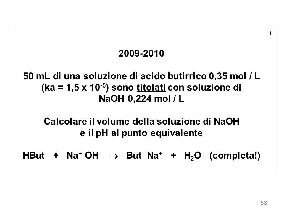 56 1 2009-2010 50 mL di una soluzione di acido butirrico 0,35 mol / L (ka = 1,5 x 10 -5 ) sono titolati con soluzione di NaOH 0,224 mol / L Calcolare