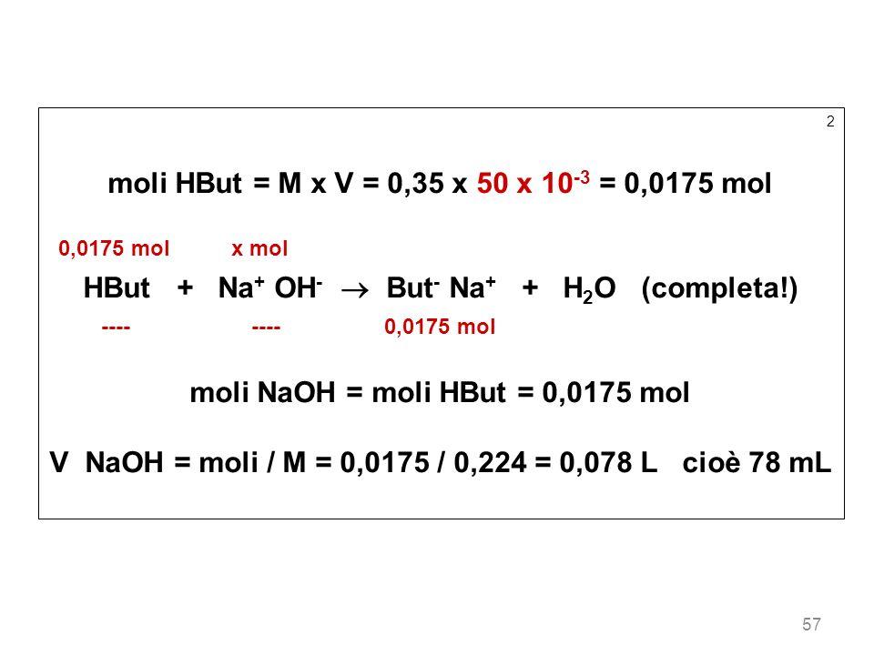 57 2 moli HBut = M x V = 0,35 x 50 x 10 -3 = 0,0175 mol 0,0175 mol x mol HBut + Na + OH - But - Na + + H 2 O (completa!) ---- ---- 0,0175 mol moli NaO