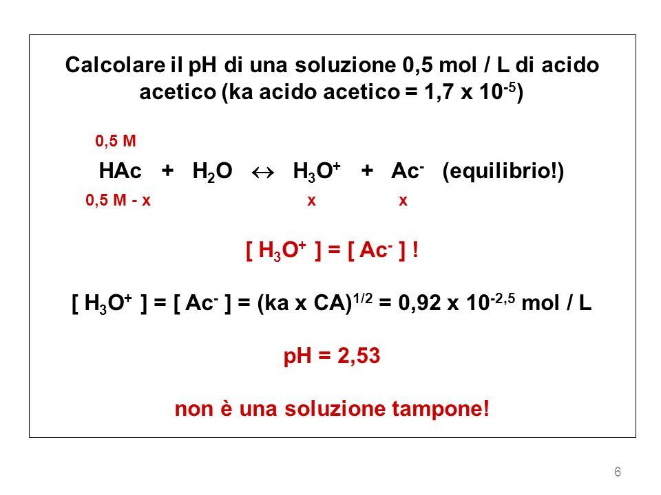 6 Calcolare il pH di una soluzione 0,5 mol / L di acido acetico (ka acido acetico = 1,7 x 10 -5 ) 0,5 M HAc + H 2 O H 3 O + + Ac - (equilibrio!) 0,5 M
