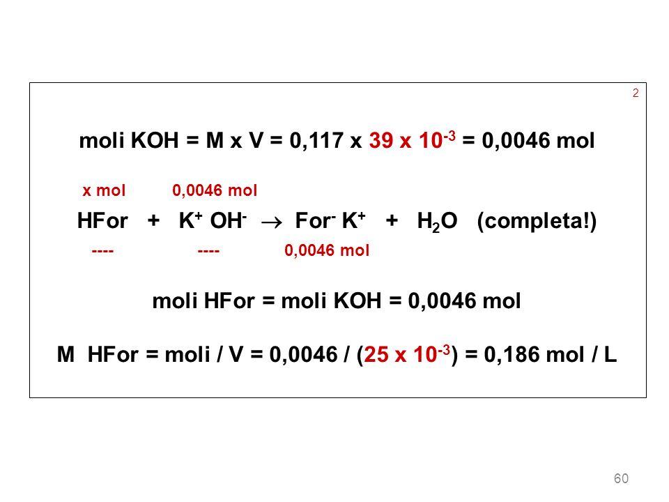 60 2 moli KOH = M x V = 0,117 x 39 x 10 -3 = 0,0046 mol x mol 0,0046 mol HFor + K + OH - For - K + + H 2 O (completa!) ---- ---- 0,0046 mol moli HFor