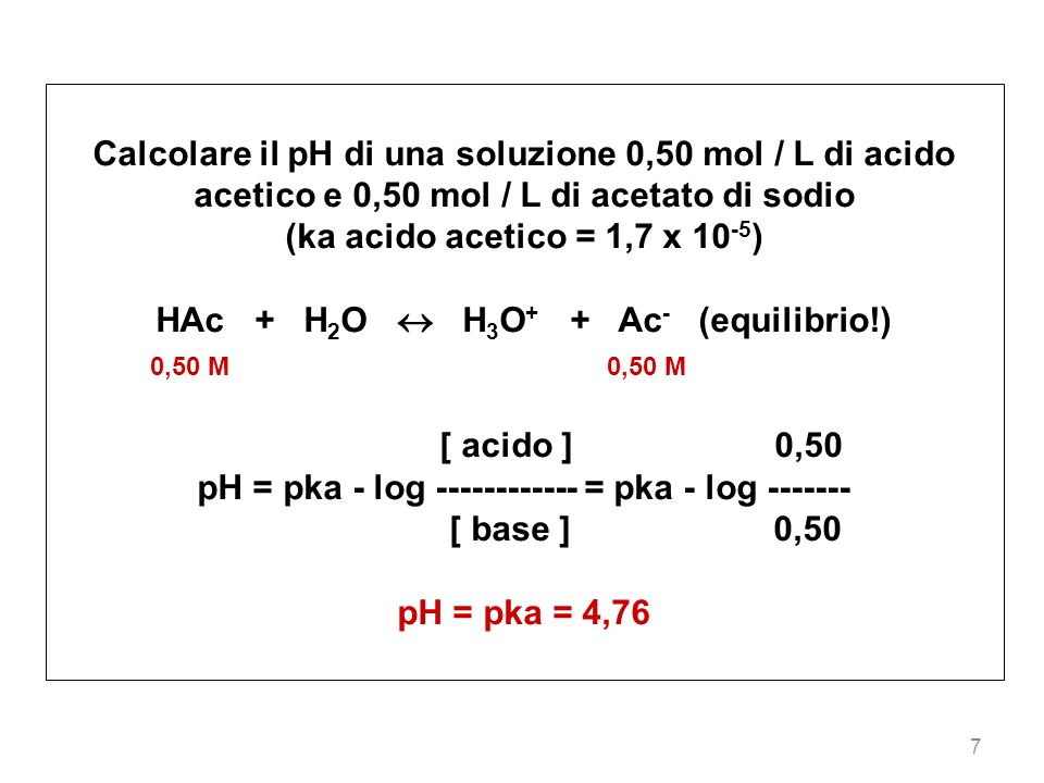38 2 prima dellaggiunta di NaOH 0,1 mol / L 0,1 mol / L HAc + H 2 O H 3 O + + Ac - [ acido ] 0,10 pH = pka - log ------------ = 4,76 - log ------- = 4,76 [ base ] 0,10