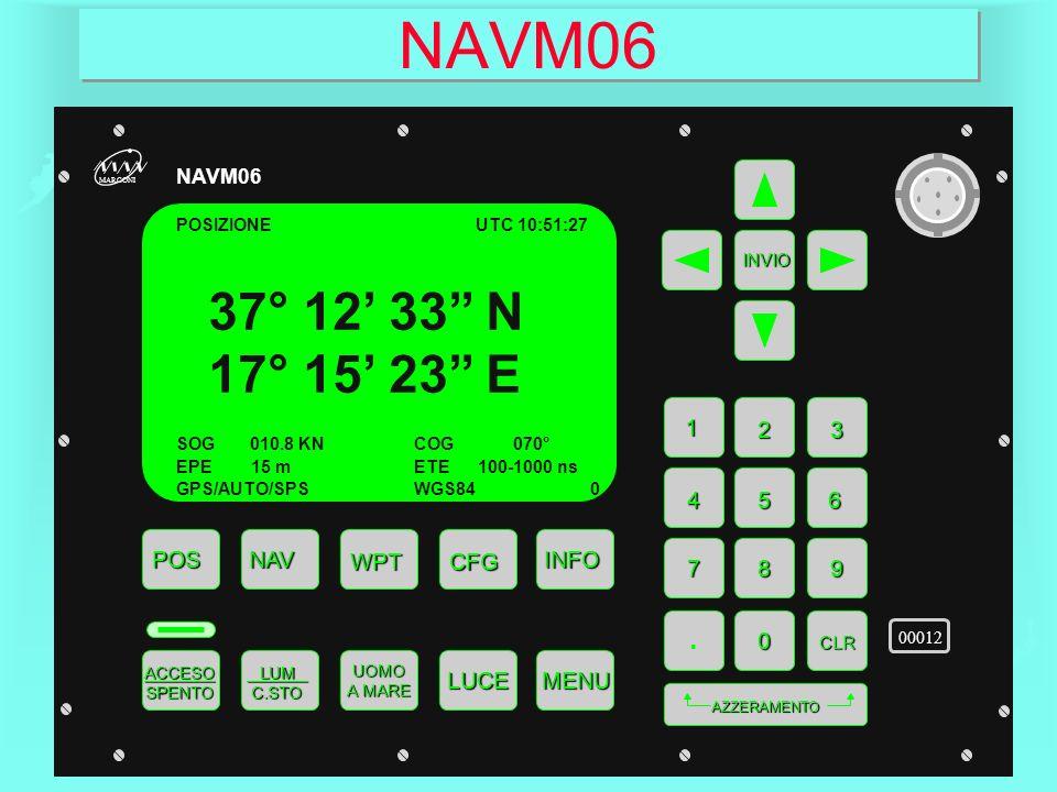 NAVM06 POSNAV WPT ACCESO SPENTO INFO CFG MENULUCE 1 23 4 LUM C.STO LUM C.STO UOMO A MARE INVIO 56 789.