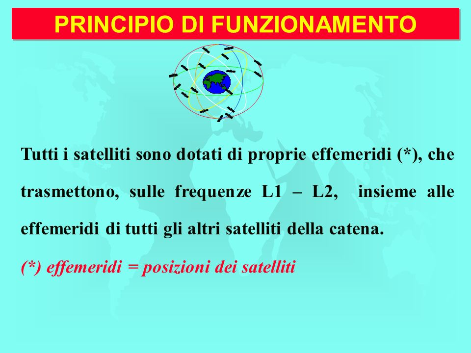 PRINCIPIO DI FUNZIONAMENTO Tutti i satelliti sono dotati di proprie effemeridi (*), che trasmettono, sulle frequenze L1 – L2, insieme alle effemeridi