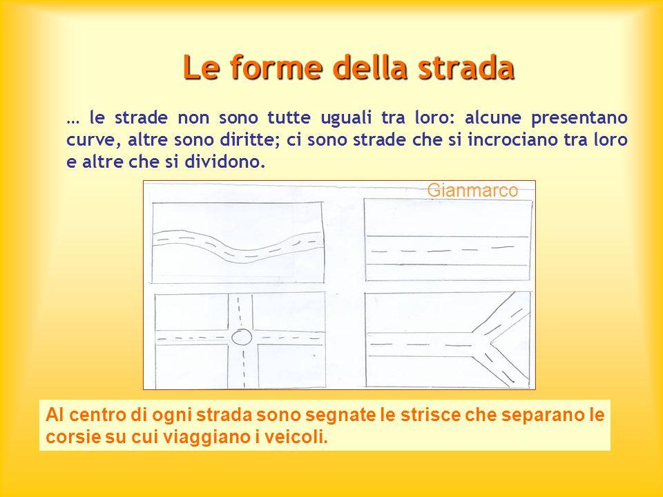 Le forme della strada … le strade non sono tutte uguali tra loro: alcune presentano curve, altre sono diritte; ci sono strade che si incrociano tra lo