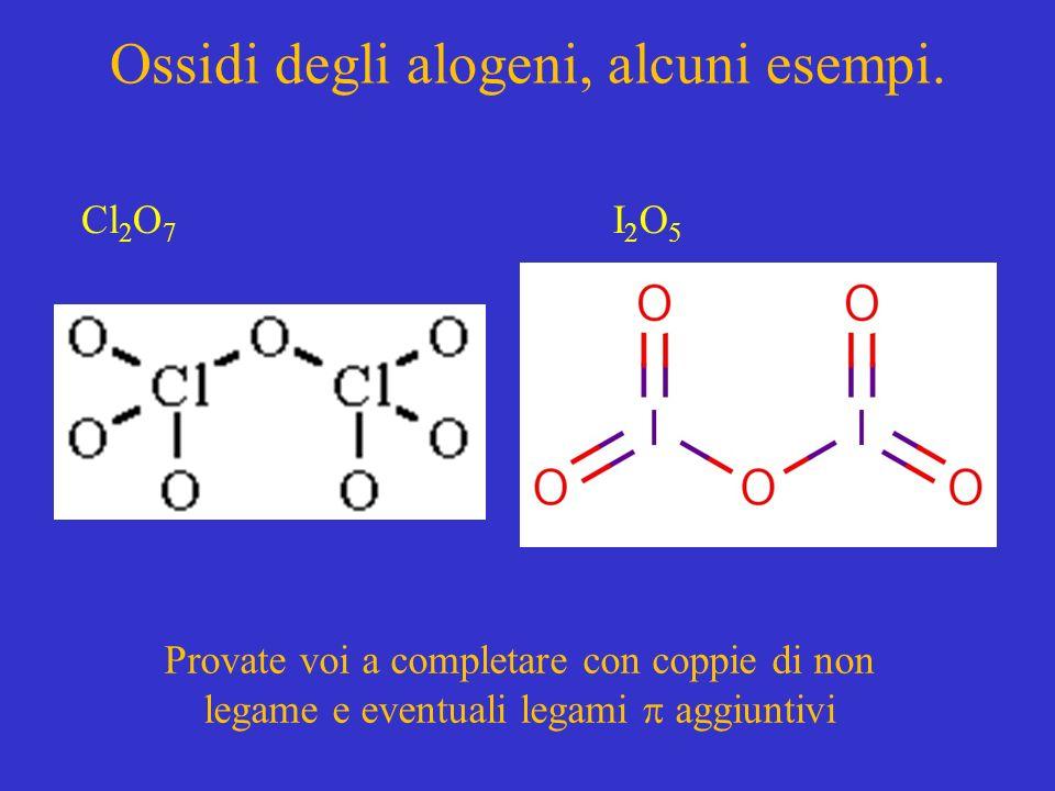 Ossidi degli alogeni, alcuni esempi. Provate voi a completare con coppie di non legame e eventuali legami aggiuntivi Cl 2 O 7 I2O5I2O5