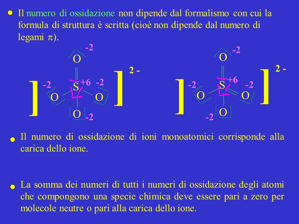 Il numero di ossidazione non dipende dal formalismo con cui la formula di struttura è scritta (cioè non dipende dal numero di legami ). S O O O ] ] 2