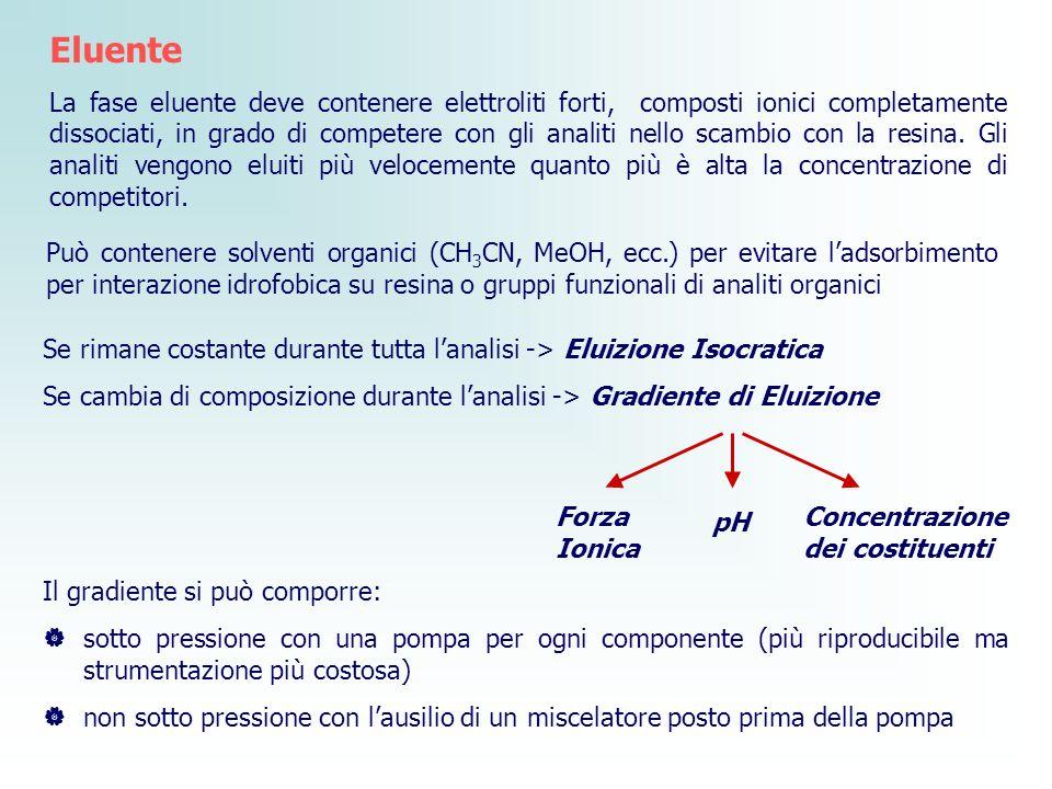 Se rimane costante durante tutta lanalisi -> Eluizione Isocratica Se cambia di composizione durante lanalisi -> Gradiente di Eluizione Forza Ionica pH