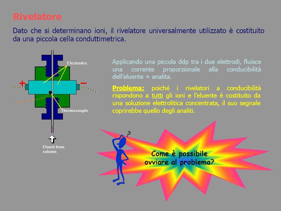 Rivelatore Dato che si determinano ioni, il rivelatore universalmente utilizzato è costituito da una piccola cella conduttimetrica. Applicando una pic