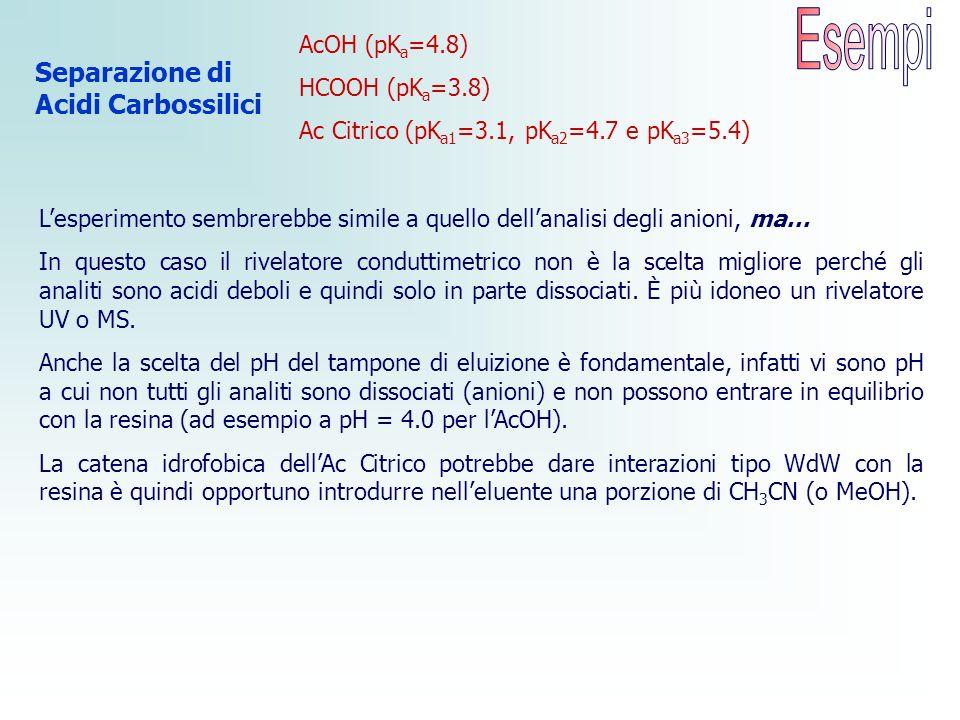 Separazione di Acidi Carbossilici AcOH (pK a =4.8) HCOOH (pK a =3.8) Ac Citrico (pK a1 =3.1, pK a2 =4.7 e pK a3 =5.4) Lesperimento sembrerebbe simile