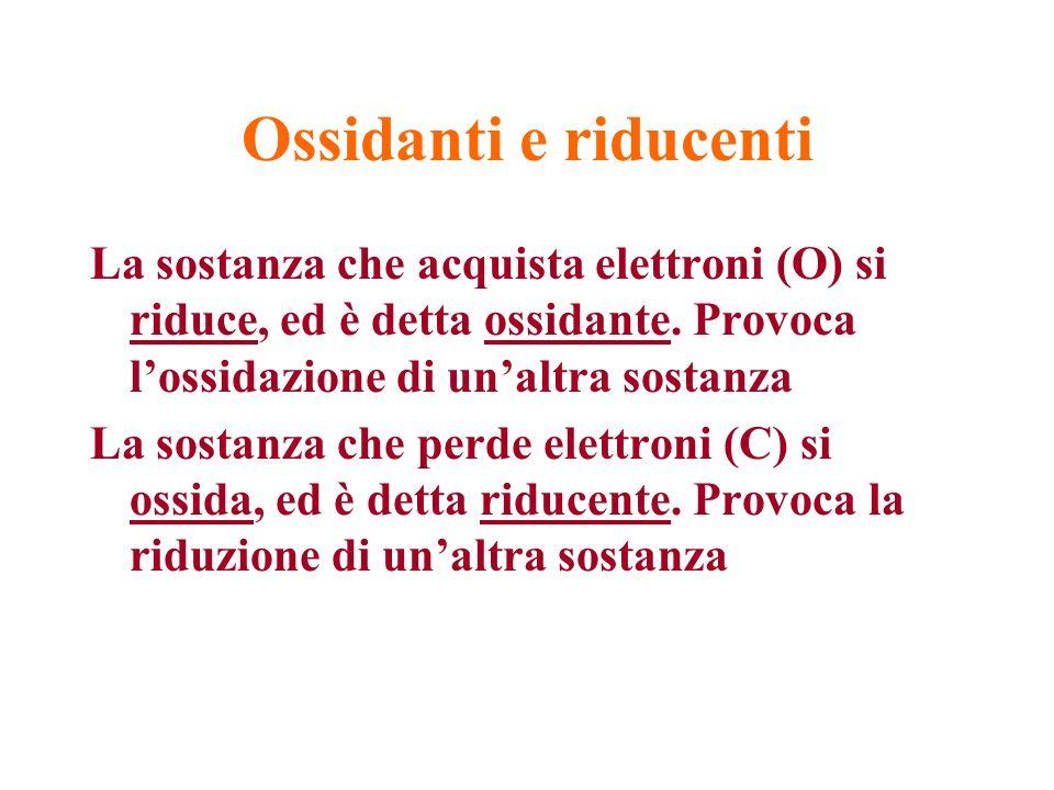 La sostanza che acquista elettroni (O) si riduce, ed è detta ossidante. Provoca lossidazione di unaltra sostanza La sostanza che perde elettroni (C) s