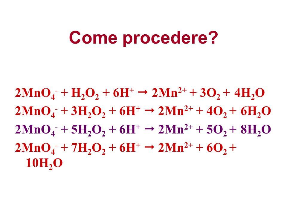Come procedere? 2MnO 4 - + H 2 O 2 + 6H + 2Mn 2+ + 3O 2 + 4H 2 O 2MnO 4 - + 3H 2 O 2 + 6H + 2Mn 2+ + 4O 2 + 6H 2 O 2MnO 4 - + 5H 2 O 2 + 6H + 2Mn 2+ +