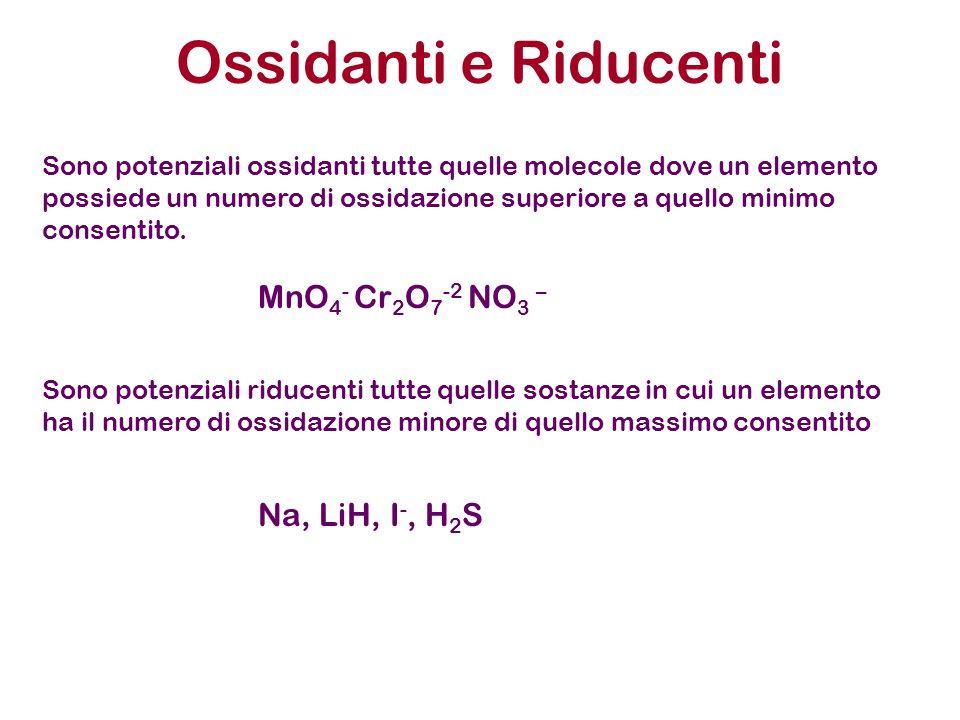 Ossidanti e Riducenti Sono potenziali ossidanti tutte quelle molecole dove un elemento possiede un numero di ossidazione superiore a quello minimo con
