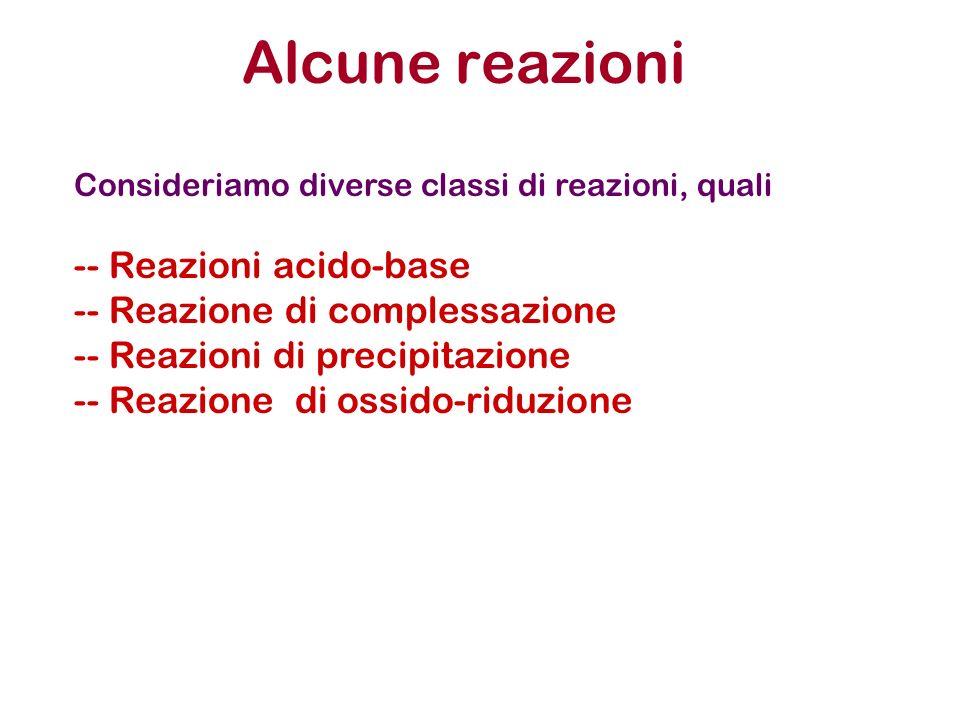 Alcune reazioni Consideriamo diverse classi di reazioni, quali -- Reazioni acido-base -- Reazione di complessazione -- Reazioni di precipitazione -- Reazione di ossido-riduzione