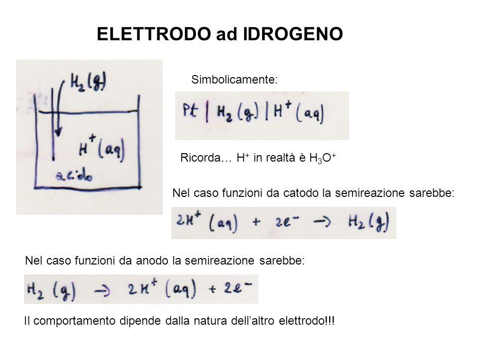 ELETTRODO ad IDROGENO Simbolicamente: Ricorda… H + in realtà è H 3 O + Nel caso funzioni da catodo la semireazione sarebbe: Nel caso funzioni da anodo