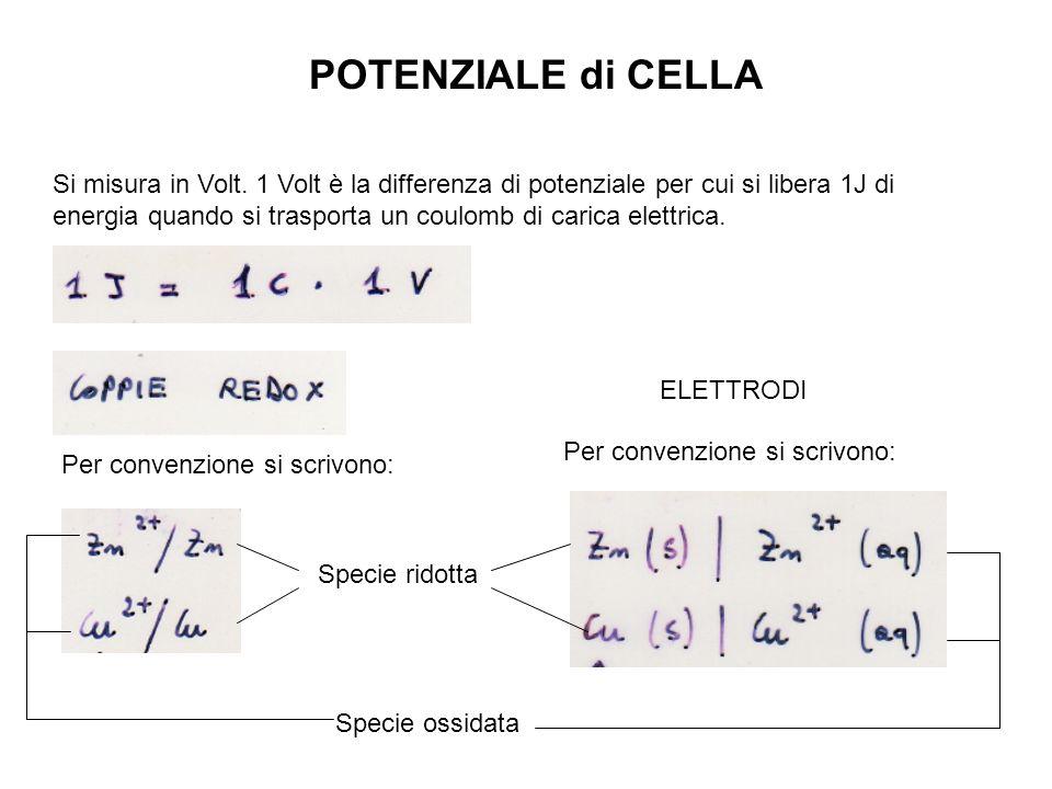 POTENZIALE di CELLA Si misura in Volt. 1 Volt è la differenza di potenziale per cui si libera 1J di energia quando si trasporta un coulomb di carica e