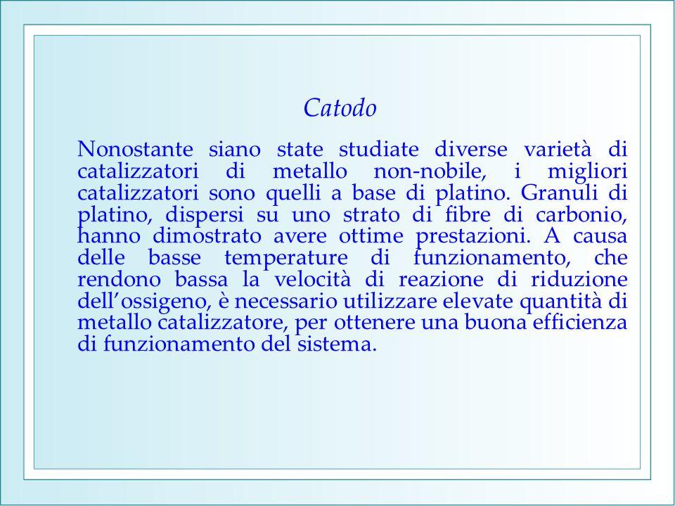 Catodo Nonostante siano state studiate diverse varietà di catalizzatori di metallo non-nobile, i migliori catalizzatori sono quelli a base di platino.