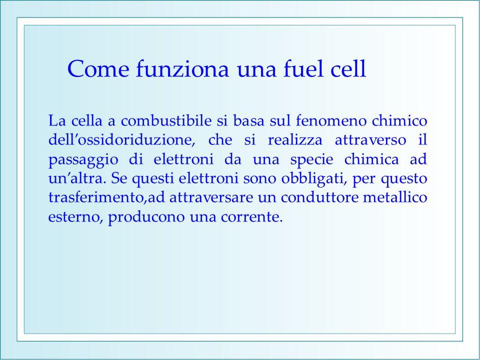 Come funziona una fuel cell La cella a combustibile si basa sul fenomeno chimico dellossidoriduzione, che si realizza attraverso il passaggio di elett
