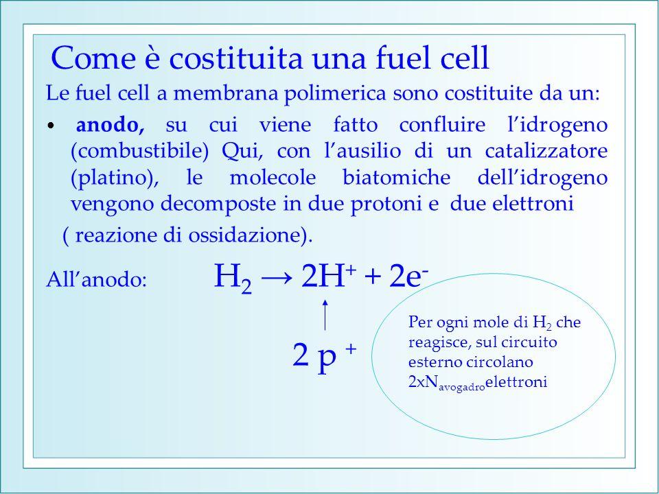 Le fuel cell a membrana polimerica sono costituite da un: anodo, su cui viene fatto confluire lidrogeno (combustibile) Qui, con lausilio di un cataliz