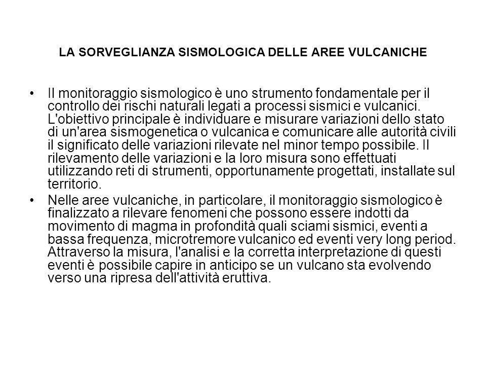 LA SORVEGLIANZA SISMOLOGICA DELLE AREE VULCANICHE Il monitoraggio sismologico è uno strumento fondamentale per il controllo dei rischi naturali legati
