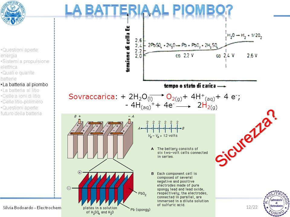 12/22 Sovraccarica: + 2H 2 O (l) O 2(g) + 4H + (aq) + 4 e - ; - 4H (aq) + + 4e - 2H 2(g) Sicurezza? Questioni aperte: energia Sistemi a propulsione el