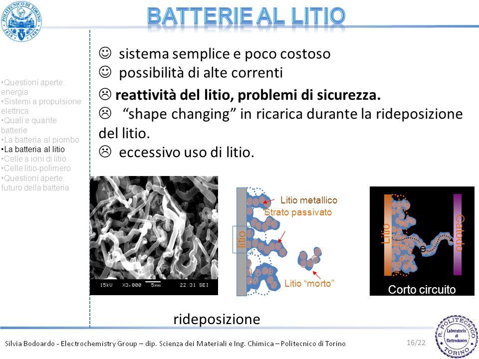 sistema semplice e poco costoso possibilità di alte correnti reattività del litio, problemi di sicurezza. shape changing in ricarica durante la ridepo